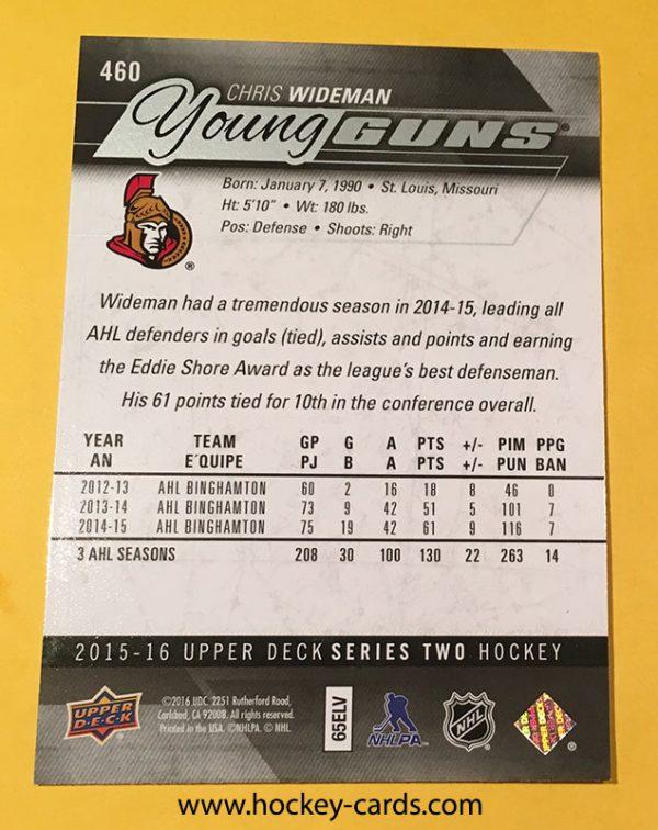 Chris Wideman Young Guns Rookie Card UD #460 2015-16 Back
