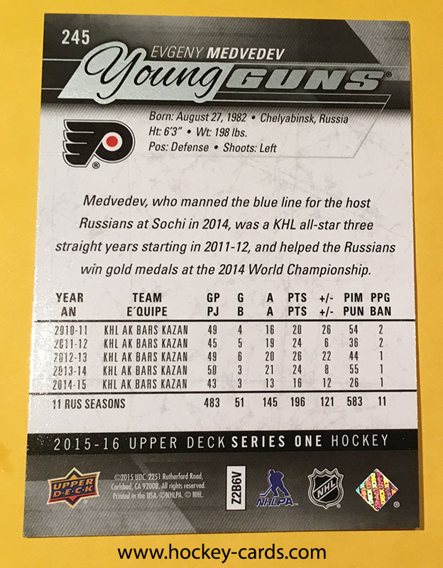 Evgeny Medvedev Young Guns Rookie Card UD #245 2015-16