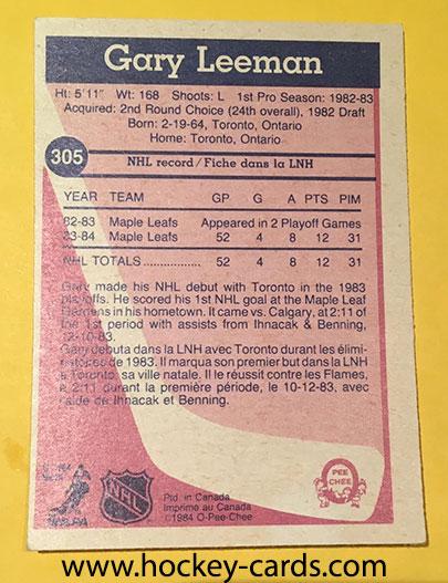 Gary Leeman Rookie Hockey Card O-Pee-Chee 1983-84 #305