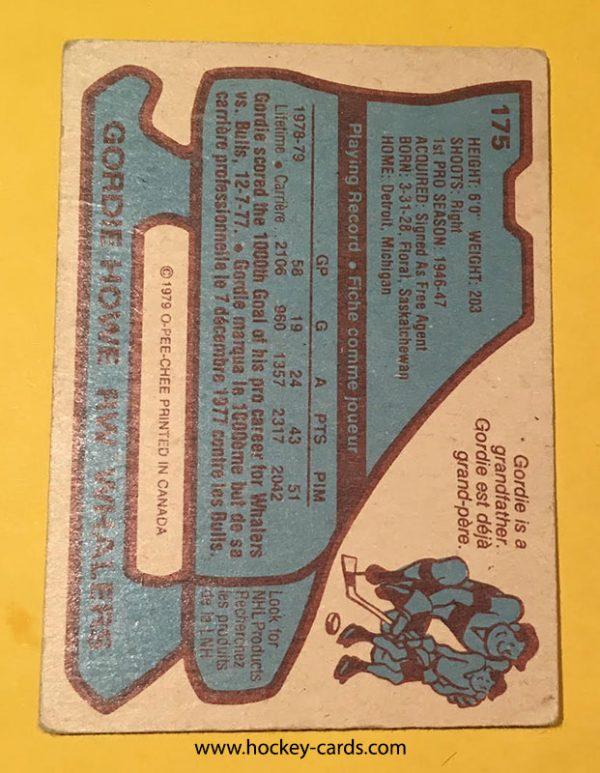 Gordie Howe 1979-80 O-Pee-Chee #175 Hockey Card Back