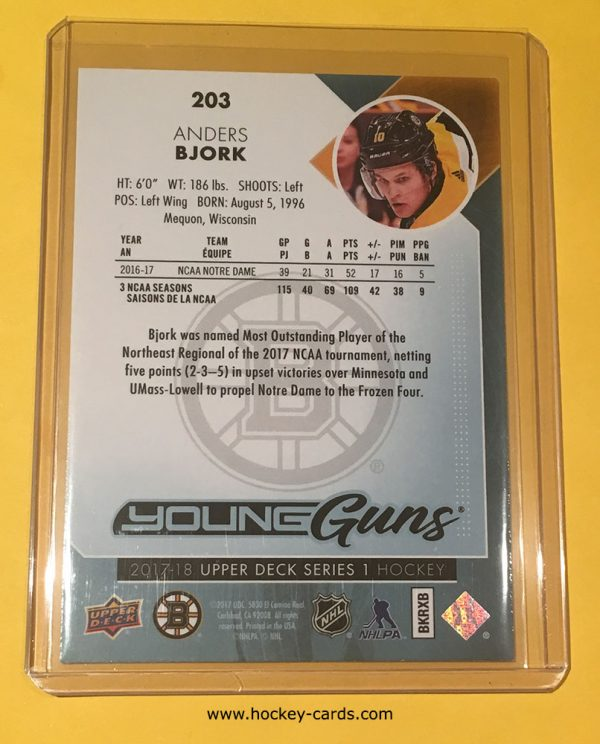 Anders Bjork 2017-18 UD Hockey Series 1 Young Guns #203 Boston Bruins Back of Hockey Card