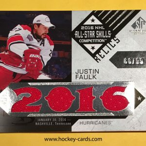 Justin Faulk SP Game Used All-Star Skills Relic Blends ASB-JF 66/99