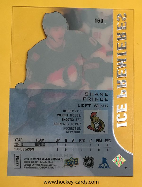 Shane Prince Ice Premieres Rookie Card #160 Ottawa Senators 521/1499 back of card