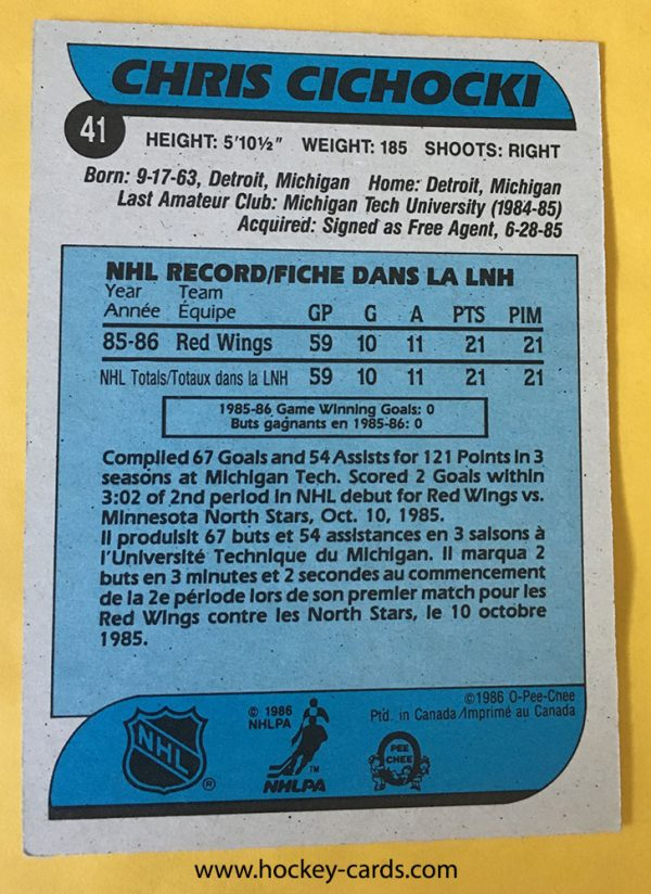 Chris Cichocki Rookie Card #41 O-Pee-Chee 1986-87 back of card