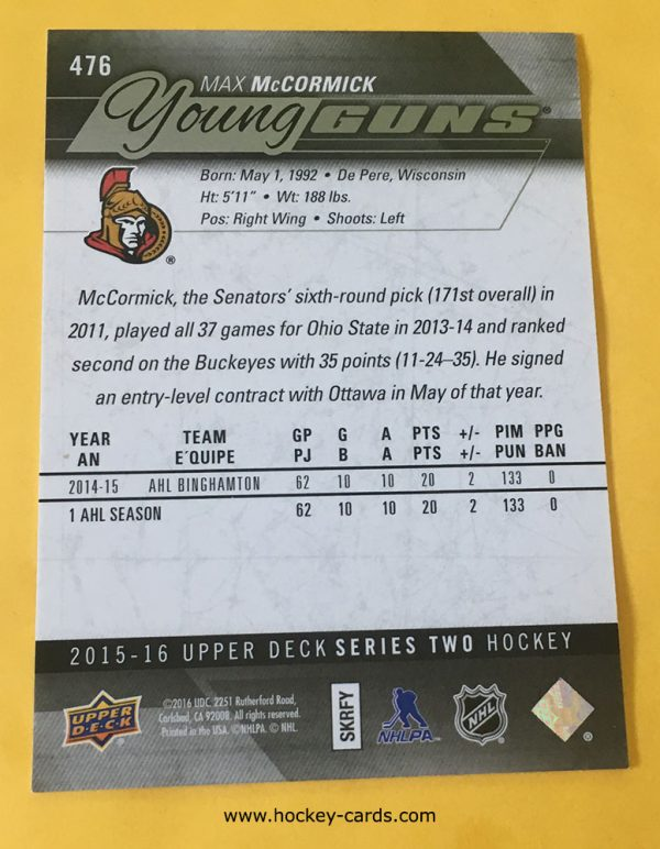 Max McCormick Young Guns Rookie Card 2015-16 #476 Back of Card