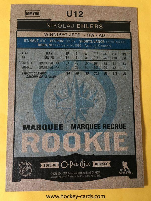Nikolaj Ehlers Marquee Rookie 2015-16 O-Pee-Chee # U12 RC back of card