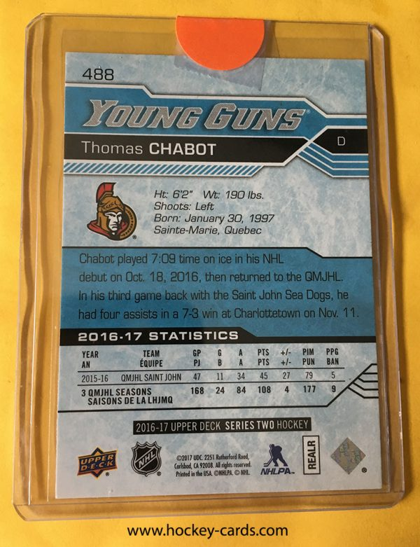 Thomas Chabot Young Guns 2016-17 Upper Deck #488 Rookie Card back of card